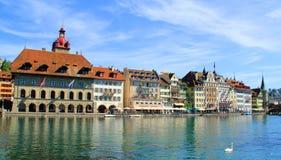 Lago lugano en Suiza Foto de archivo