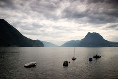 Lago Lugano Switzerland Imagens de Stock