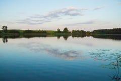 Lago luminoso con la foresta delle canne e ponte al giorno di estate soleggiato immagine stock