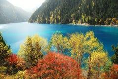 Lago lungo di Jiuzhaigou in autunno Fotografia Stock Libera da Diritti