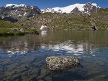 Lago Lungo with mount Cevedale Stock Photos