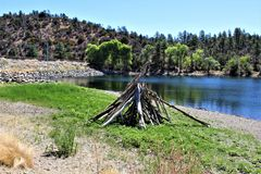 Lago lynx, distrito del guardabosques de Bradshaw, Prescott National Forest, estado de Arizona, Estados Unidos Imagenes de archivo