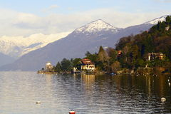 Lago maggiore. View of the lake known as lago maggiore near the city of Luino, in Italy royalty free stock photography