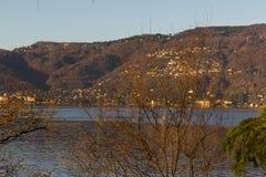 lago maggiore coast sunrise verbania stock images