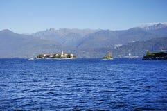 Lago Maggiore en Isola-dei Pescatori, Lago Maggiore, Italië, Europa, eind oktober 2016 Stock Afbeeldingen