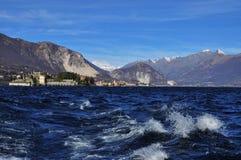 Lago Maggiore, Isola Bella e Pescatori nell'inverno Fotografie Stock