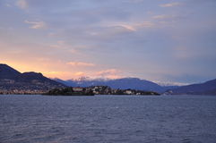 Lago Maggiore, Isola Madre in Winter. Sunset light Royalty Free Stock Photo