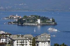 Lago Maggiore, Italie - vue siège potentiel d'explosion sur d'Isola Bella et d'Isola dei Photographie stock libre de droits
