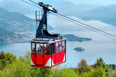 Lago Maggiore Lake Maggiore cableway cabin mount Mottarone top. Cableway cabin go downhill from the top of the mount Mottarone to the Lake Maggiore, Italy, 22 stock photography