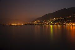 Lago Maggiore - Locarno alla notte Immagini Stock Libere da Diritti