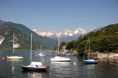 Lago Maggiore and snowcapped swiss Alps Royalty Free Stock Image