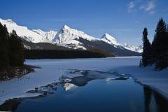 Lago Maligne en Aprili Imagen de archivo