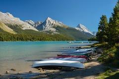 Lago Maligne, parque nacional del jaspe, Canadá imagen de archivo