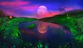 Lago Marmarosha e luna Fotografie Stock