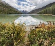 Lago medio Multinskoe Autumn Landscape altai Foto de archivo