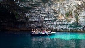 Lago Melissani em Kefalonia, Grécia Imagens de Stock