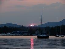 Lago Memphremagog al tramonto Fotografie Stock Libere da Diritti