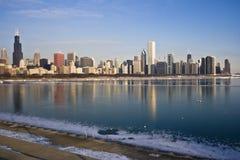 Lago Michigan congelado em Chicago Imagens de Stock
