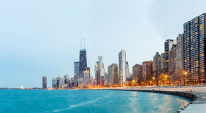 Lago Michigan di panorama di Chicago Fotografia Stock