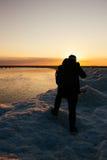Lago Michigan no inverno fotografia de stock