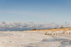 Lago Michigan parzialmente congelato con sole Fotografia Stock