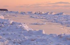 Lago Michigan sunset do inverno Imagem de Stock Royalty Free