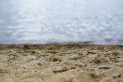 Lago Miedwie, Stargard, Polônia Paisagem do lago e da areia do foco seletivo fotos de stock royalty free