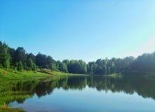 Lago mirror en el bosque imagenes de archivo