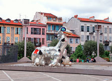 Lago moderno Ness Monster in Nizza, Francia della scultura Fotografia Stock Libera da Diritti