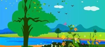 Lago, montanhas e flores Fotos de Stock