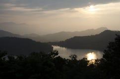 Lago moon nelle montagne di Taiwan Immagini Stock Libere da Diritti