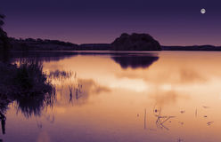 Lago moonlight imagens de stock