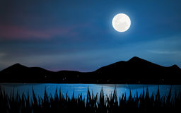 Lago moonlight Fotos de Stock Royalty Free