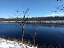 Lago Moosehead después de la nieve ligera Foto de archivo