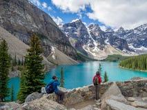 Lago moraine, Banff Immagini Stock Libere da Diritti