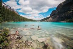 Lago moraine, sosta nazionale del Banff, Canada fotografie stock