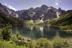 Lago Morskie Oko in montagne polacche di Tatra Immagini Stock Libere da Diritti