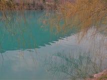 Lago mountain con acqua blu del turchese e la riflessione dei rami nell'acqua immagine stock libera da diritti
