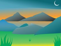 Lago mountain con un'alba meravigliosa Fotografie Stock