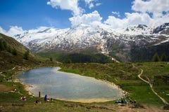 Lago mountain vicino al Cervino Fotografia Stock