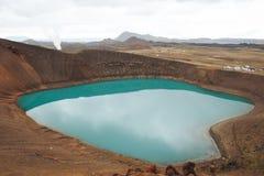Lago Myvatn Islandia crater de Viti foto de archivo