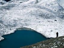 Lago na passagem do La de Thorong imagem de stock