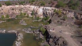 Lago na vista aérea video estoque