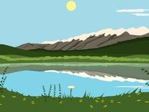 Lago nas montanhas no fundo do dia ensolarado ilustração do vetor