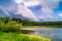 Lago natural del bosque con pasatiempos públicos arenosos artificiales de la playa gratis Suburbio residencial de Moscú, distrito Fotos de archivo libres de regalías