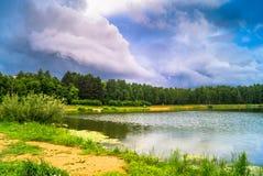 Lago natural del bosque con pasatiempos públicos arenosos artificiales de la playa gratis Suburbio residencial de Moscú, distrito Imagen de archivo
