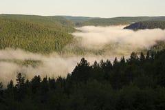Lago nebbioso Wapizagonke visto dall'allerta Fotografie Stock Libere da Diritti