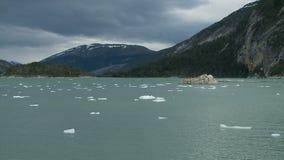Lago nella Patagonia vicino al ghiacciaio stock footage