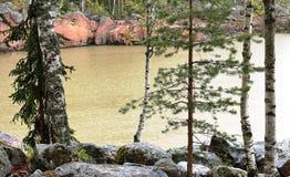 Lago nella pioggia Fotografia Stock
