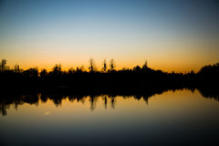 Lago nella sera, umore di sera, crepuscolo di sera Fotografia Stock Libera da Diritti